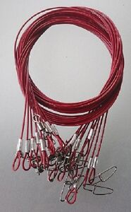 10-x-316-STAINLESS-WIRE-TRACE-LEADER-RED-50cm-50kg-rated