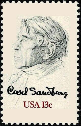 10 CARL SANDBURG STAMPS: Pulitzer Prize, American Poet, Galesburg, IL Birthplace