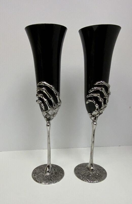 Halloween Skeleton Flute Champagne Wine Glasses Set Of 2