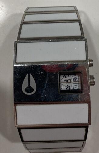 Used Nixon The Rotolog Lotrog Quartz Watch White Ceramic Silver 02R3223 - $123.79