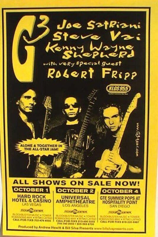 G3 TOUR 1997 WEST COAST CONCERT TOUR POSTER:SATRIANI, WAYNE SHEPHERD, VAI, FRIPP