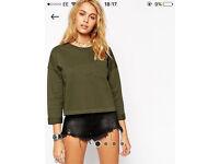 ASOS khaki cropped sweatshirt size 12