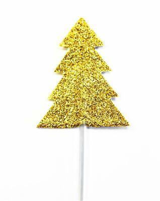 Glitter Oro Christmas Albero Cupcake Topper x 12