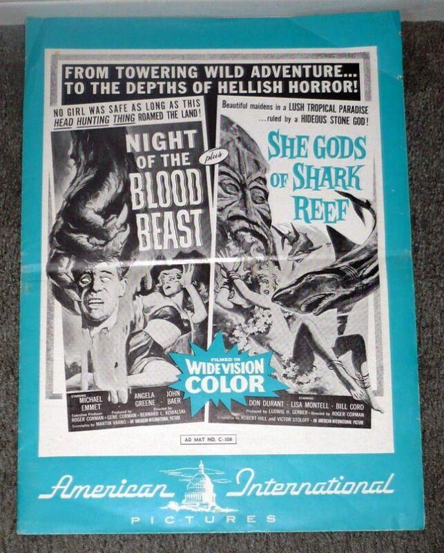 NIGHT OF THE BLOOD BEAST original AIP 1958 pressbook SHE GODS OF SHARK REEF