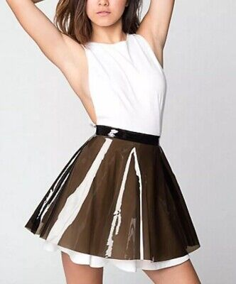 American Apparel PVC Vinyl mini Skirt Clear Smoke Transparent Black Plastic L Black Vinyl Mini Skirt