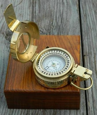SOLID BRASS BRITISH PRISMATIC COMPASS WITH STORAGE CASE