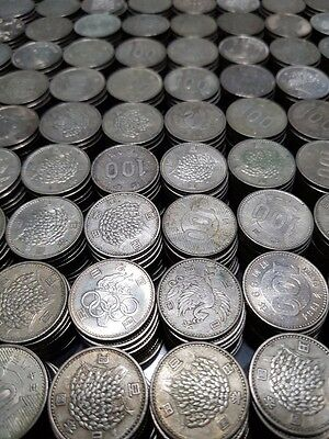 Japanese 100 Yen Silver Coins   Rice  Phoenix  Olympic   5 Coin Mix Lot   Japan