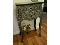 Silver embossed 2 drawer bedside table