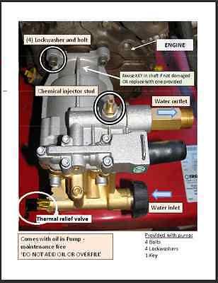 New Horizontal Pressure Washer Brass Pump 3100 Psi Replaces Triplex Honda Dewalt