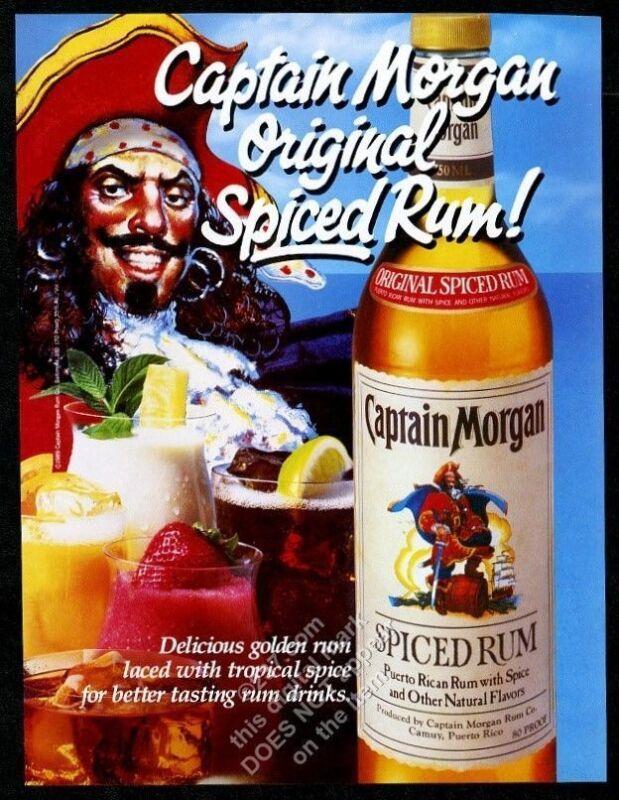 1989 Captain Morgan Spiced Rum pirate art drinks photo vintage print ad