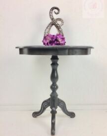 Pedestal Legged Round Side/Occasional Graphite Table