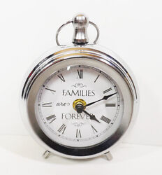Metal Table Clock Families are Forever  Silver 6 H x 5 W