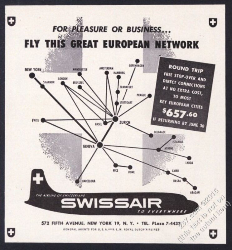 1951 Swissair plane modern system map art vintage print ad