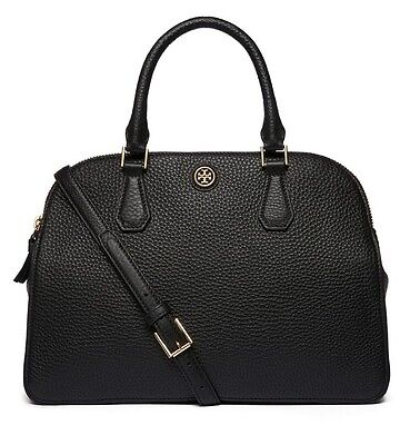 TORY BURCH ROBINSON PEBBLED DOUBLE-ZIP SATCHEL BLACK NWT $525 &GIFT BAG 32159771