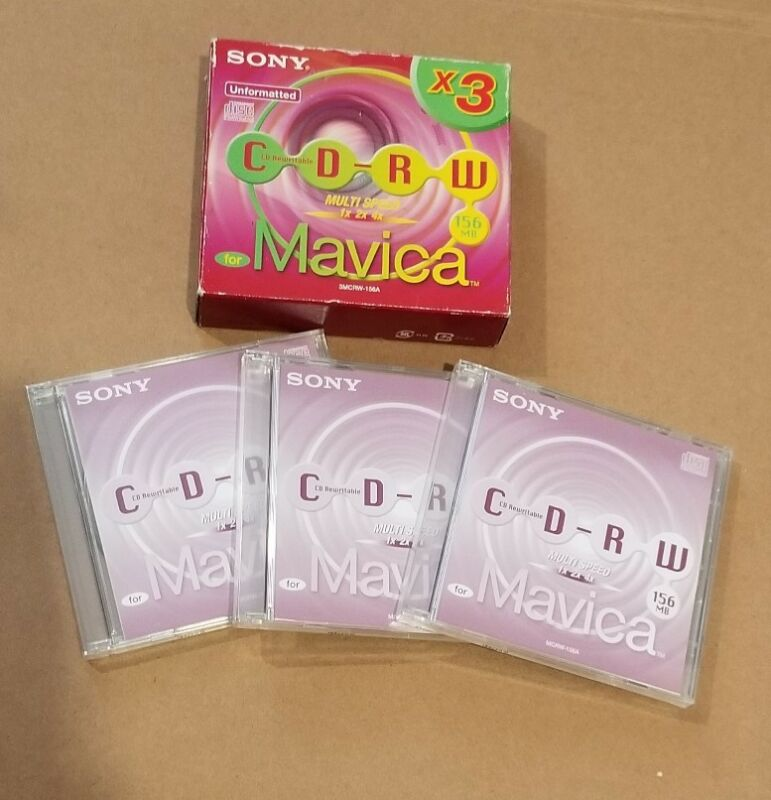 NEW SONY 3-pack  3MCRW-156A Mavica Unformatted Rewritable CD-RW