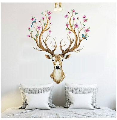 Deer Birds Flowers Tree Removable Wall Sticker Vinyl Decals Mural Art Home Decor