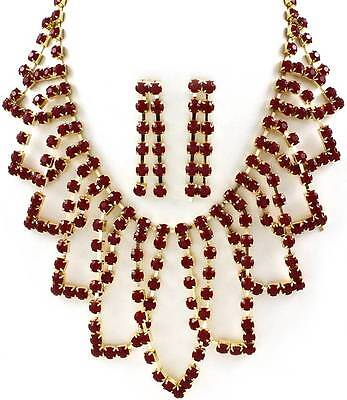 Reddish Brown Faceted Lucite Stud Abstract Shape Gold Tone Base Necklace Earring Brown Stud Necklace
