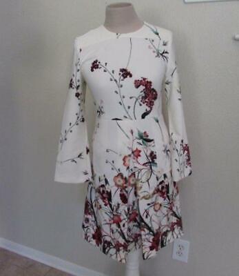 ZARA womens XS ivory l/s floral print pockets dress beautiful stretch fabric