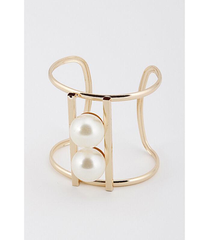 "Big Pearl Cuff Cutout Bracelet Bangle Adjustable Cream Fashion Jewelry 2.5"""