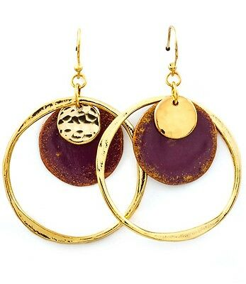 Color Patina Metal Earring (Hoop Style Dangle Disc Metal Patina Color Earrings Goldtone Plum   )