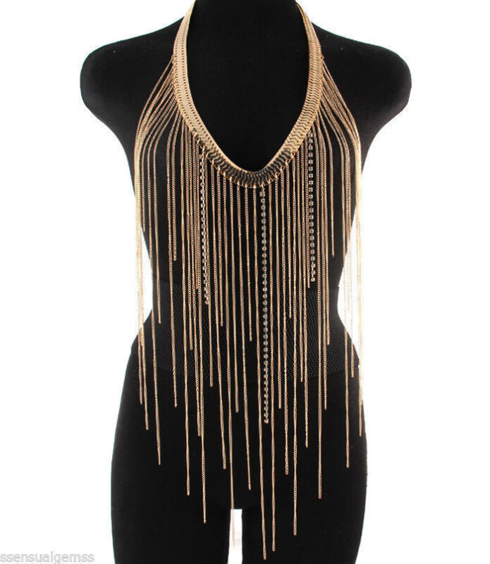 Retro Fashion Crystal Front Tassel Simple Body Chain Necklace Jewelry Women