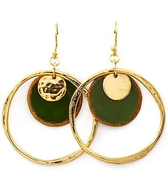 Color Patina Metal Earring (Hoop Style Dangle Disc Metal Patina Color Earrings Goldtone Green   )