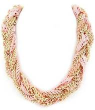 NEW Fashion Statement necklace in gold & peach multi braid design Airport West Moonee Valley Preview