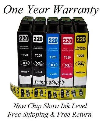 5PK Hi-Yield Ink For Epson 220XL WorkForce WF2630 WF2650 2660 XP320 XP420 XP424