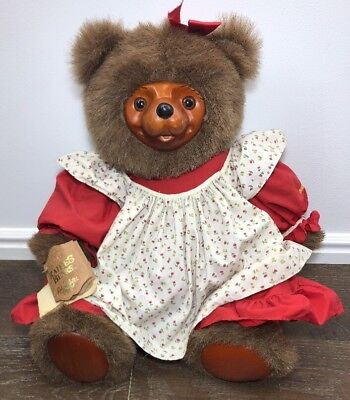 Vintage Robert Raikes Wood Face Collectible Teddy Bear with Tag