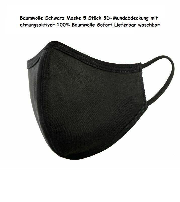 Maske 5 STÜCK Mundschutz 100% Baumwolle Stoffmaske waschbar Behelfsmaske 8616