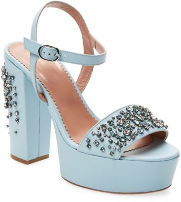 RED Valentino Leather Studs High Heel Sandal Shoes Blue EU40 $875 New!