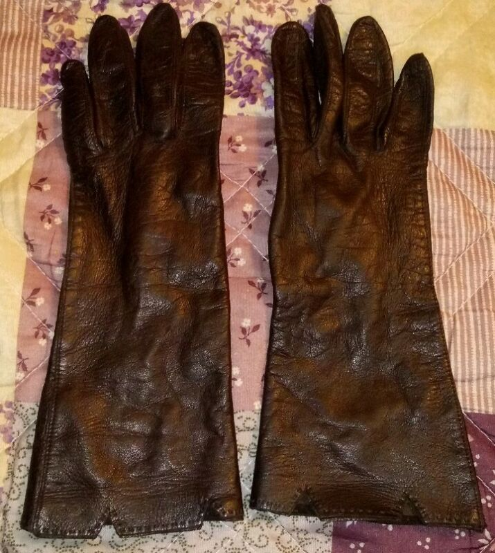 Vintage Dark Brown Soft Leather Diving Gloves Small Size