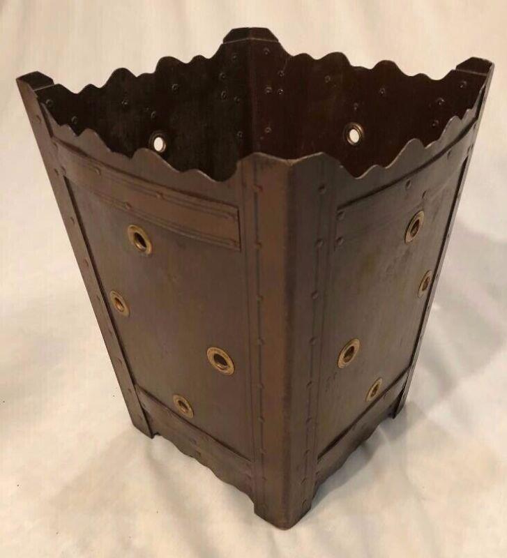 VTG Antique Waste Basket ARTS & CRAFTS Mission Trash Can with BRASS GROMMETS