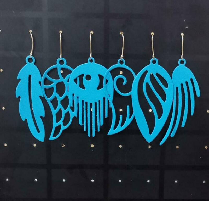 Feather Earring Metal Cutting Dies Crafts Eardrop Stencil Scrapbooking Embossing