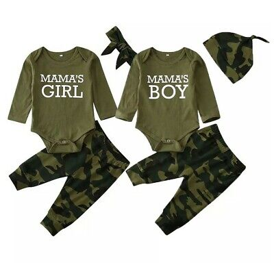 UK Newborn Baby Girl Boy Clothes Mama's Top T-Shirt Camouflage Pants Outfits Set