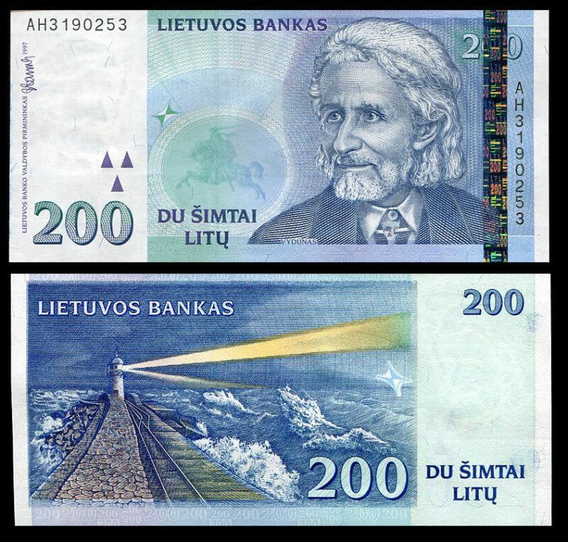 LITHUANIA 200 LITU 1997 P 63 UNC
