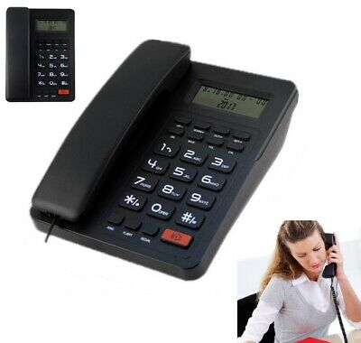 Home Corded Standard Phone Single-line Lcd Display Telephones Whiteblack