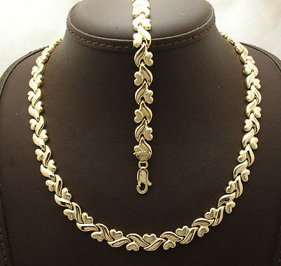 Mirrored Hearts & Kisses Bracelet Necklace Set 14K Yellow Gold Clad 925 Silver