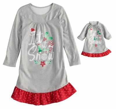 Girl 4-14 and Doll Matching Christmas Nightgown Clothes American Girl Dollie Me