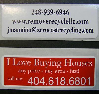Printed Labels 500 Custom 1 X 3 Rectangle Business Stickers 1-color Offset Ink