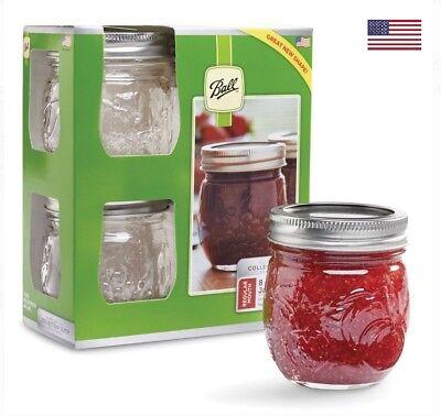 Mason Jelly Jars (Ball Regular Mouth Jars, Clear Glass Half Pint Mason Jelly Jam Jar 8oz)
