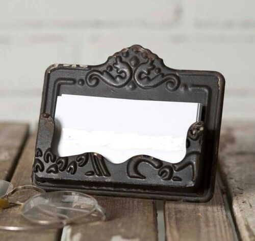 BLACK Distressed Business Card Holder Chippy Chic Shabby Vintage Style Embossed