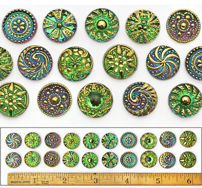 14mm Czech Glass GREEN FLASH AB SHANKLESS No Shank Cabochon Buttons 20p 10PAIRS - Cheap Buttons