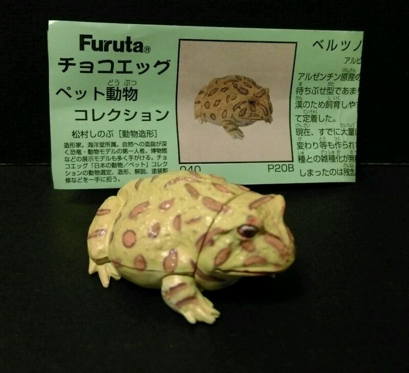 Kaiyodo Pet Animal 2 Yellow Argentine Horned Pacman Frog Toad Figure
