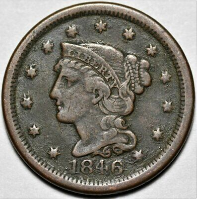 1846 Braided Hair Liberty Head Large Cent >> US 1c Coin >> Lot 220