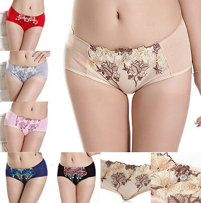 Womens Ladies Embroidered Lace Underpants Underwear ...