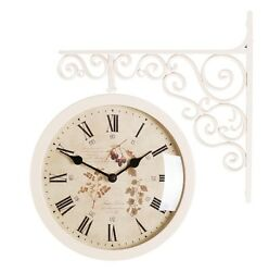 Antique Art Design Double Sided Wall Clock Station Clock Home Decor - Flower6IV