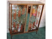 Display Cocktail GLASS Cabinet Bar Unit Retro 1960s Sliding Glass Doors