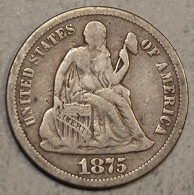 1875-CC Seated Liberty Dime, Popular Carson City Date - Discounted  0528-19