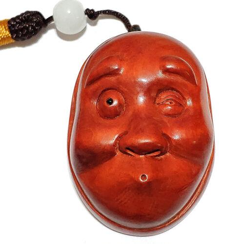 "Q4288 - 1.8"" Hand Carved Japanese Boxwood Netsuke : Funny Little Mask"